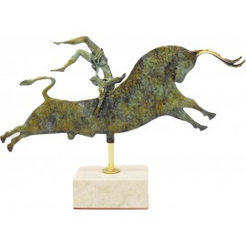 Bull leaping Handmade Statue by Brass - knossos shop